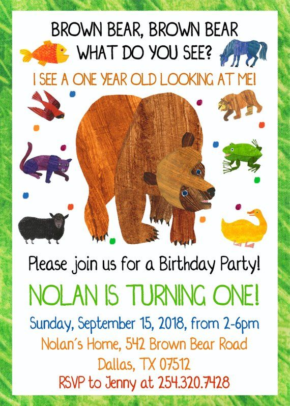 Brown Bear Invitation Brown Bear Birthday Party Invite Instant Access Edit And Print Now Self Editable You Print Brown Bear Brown Bear Birthday Bear Invitations Bear Birthday