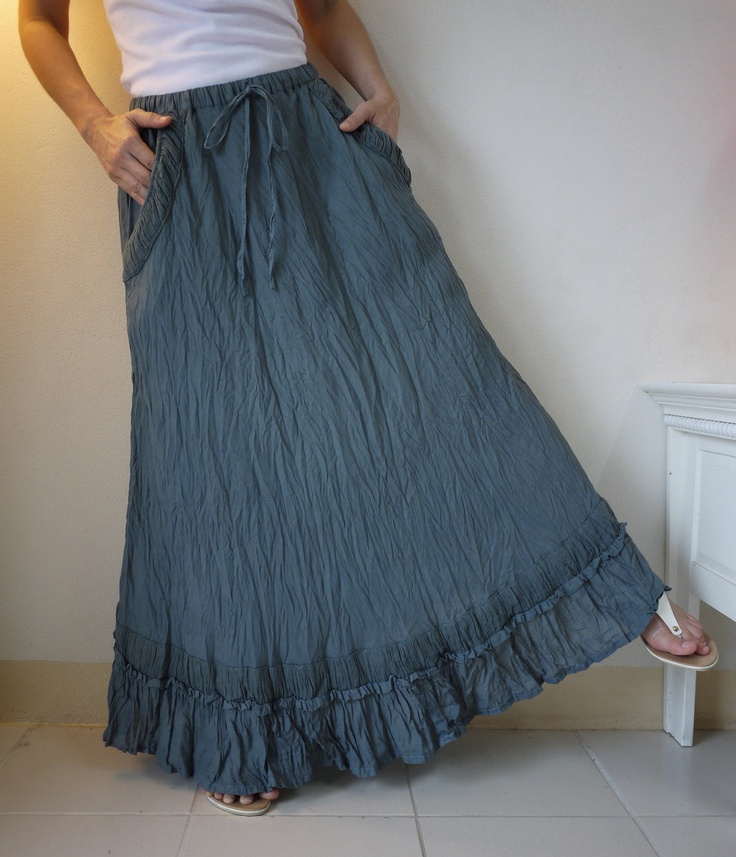 Funky Boho Gpysy Flare Maxi Light Cotton Skirt Hand Dyed In Blueish Dark Grey. $40.00, via Etsy.