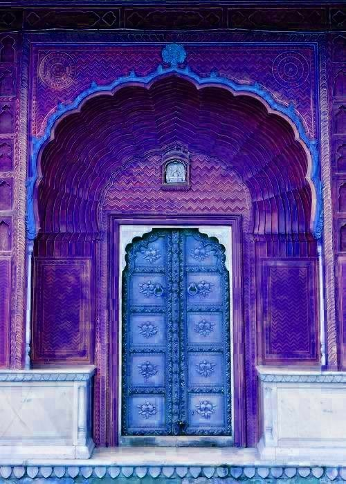Purple Door, Jaipur, India: Rajasthan India, Blue Doors, Jaipur India, Grand Entrance, Front Doors, Purple Doors, India Colors, Bright Colors, Purple And Blue