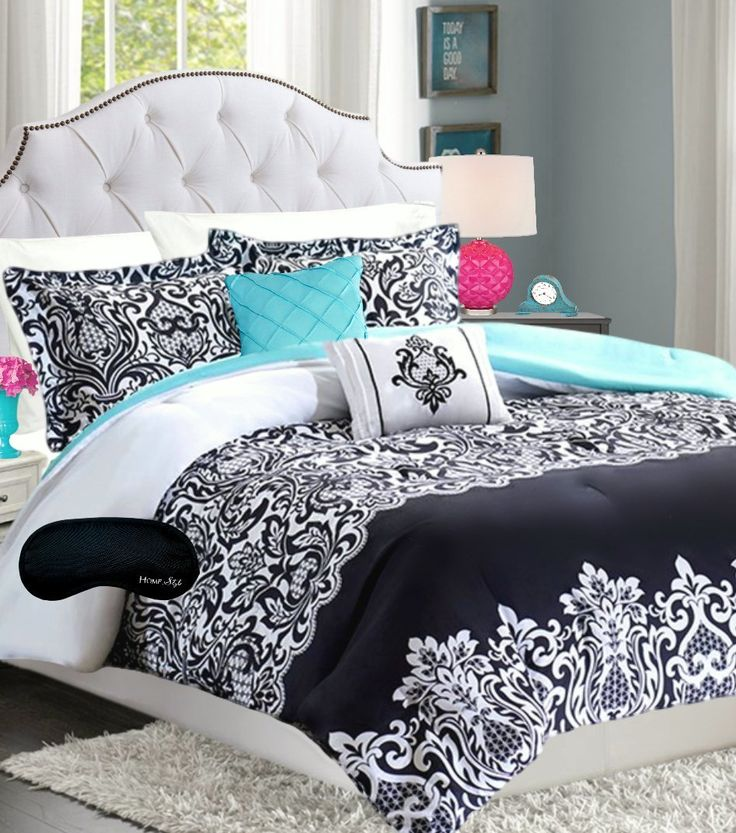 Teen Girls Bedding Damask Comforter Black White Teal Aqua
