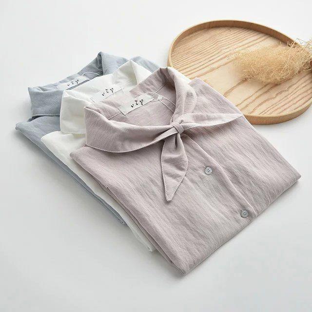 日系森女系文艺小清新 领结短袖棉麻衬衫 纯色学生上衣夏季短款-淘宝网