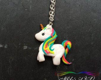 Kawaii rainbow unicorn necklace Pendant hand made by AkikosWorld