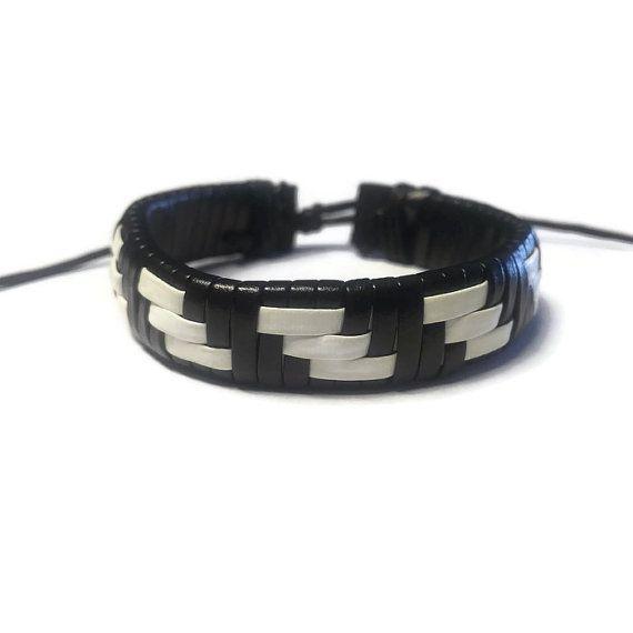 Black/White Leather Bracelet Mens Leather Rope by BriAndAshStore