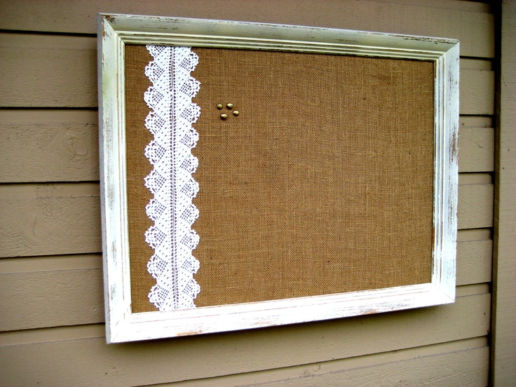 Modern Rustic Classroom ~ Framed country chic burlap and vintage lace bulletin board