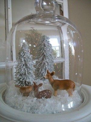 campana p/quesos con motivos navideños....witte kerst sfeer
