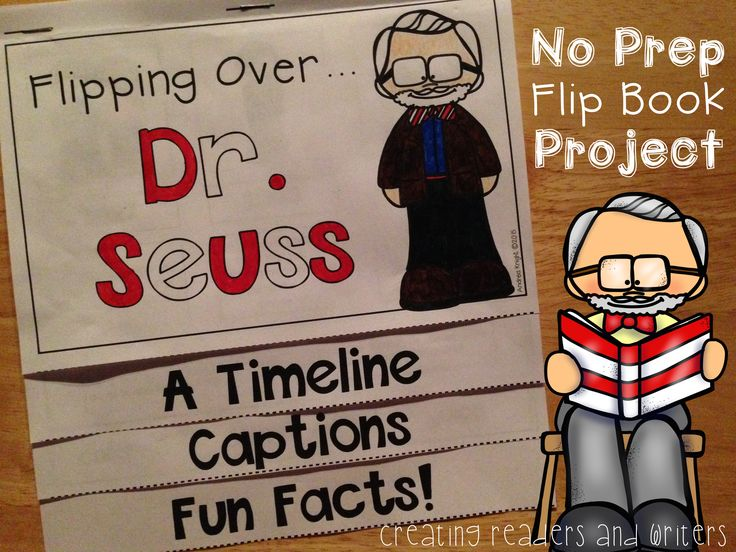 Flipping Over Dr. Seuss! (A NO PREP Biography Flip Book Project) Learn all about Dr. Seuss through nonfiction text features including a timeline, captions, and fun facts! Clear blackline images for children to color.  $