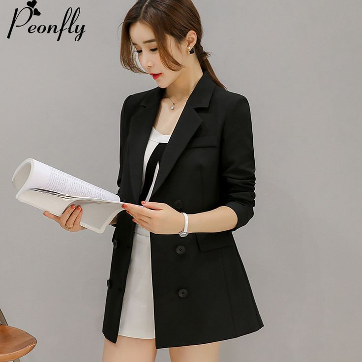 PEONFLY New Fashion 2017 Ladies  Blazer Jacket Women's Silver Lion Buttons Double Breasted Blazer Outerwear Female Pink balck #Affiliate