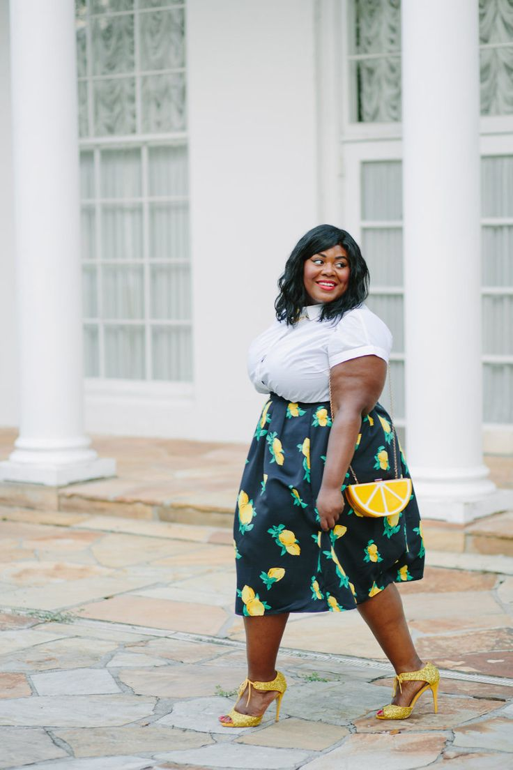 Musings of a Curvy Lady, Plus Size Fashion, Fashion Blogger, Style Blogger, Women's Fashion, NY and Company, Eva Mendes, Lemon Print, Lemon Clutch, Lemon Print Skirt, The Outfit, StyleWatch Magazine, Style Hunter, Real Women Style