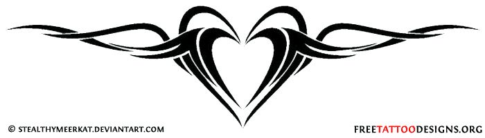 Heart tribal tattoo design for the lower back