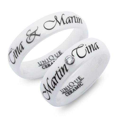 Weisse Unique Eheringe aus Keramik 6mm poliert . #keramik #gravurschmuck