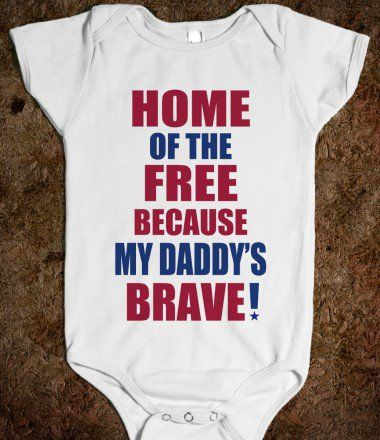 HOME OF THE FREE BECAUSE MY DADDY'S BRAVE - WHITE ONSIE - kids clothes, baby onsie - underlinedesigns