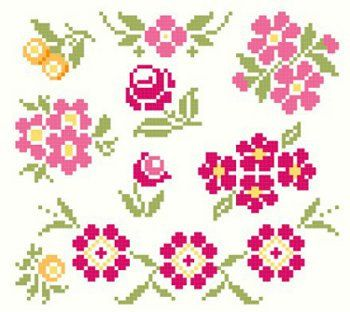 Collection of Vintage Cross Stitch Floral Motifs Cross Stitch Pattern ** Instant Download PDF