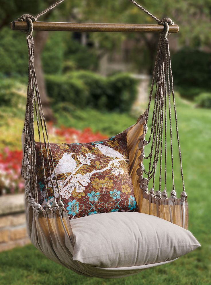 Garden Swing Chair - You can get swings like this from granit. We'd need sturdy trees or a custom built stand.