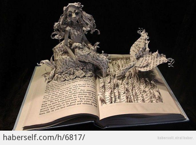 Muhteşem Kitap Yırtma Sanatıyla Hikayeleri Anlatılmış 15 Ünlü Kitap - Küçük Denizkızı