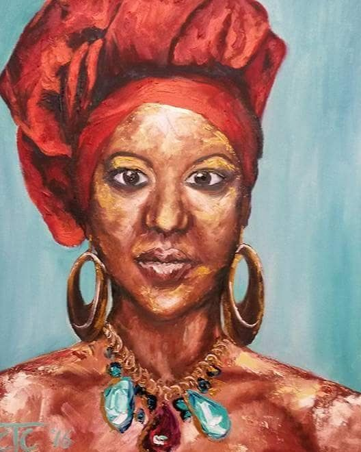 "21 Likes, 1 Comments - Carina Turck-Clark (@thouartuseful) on Instagram: ""'Beauty at face level: a series of portraits'. African woman with red headscarf, original oil…"""