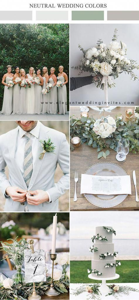 pomba cinza e verde paletas de cores neutras casamento #weddingcolors #ElegantWed …