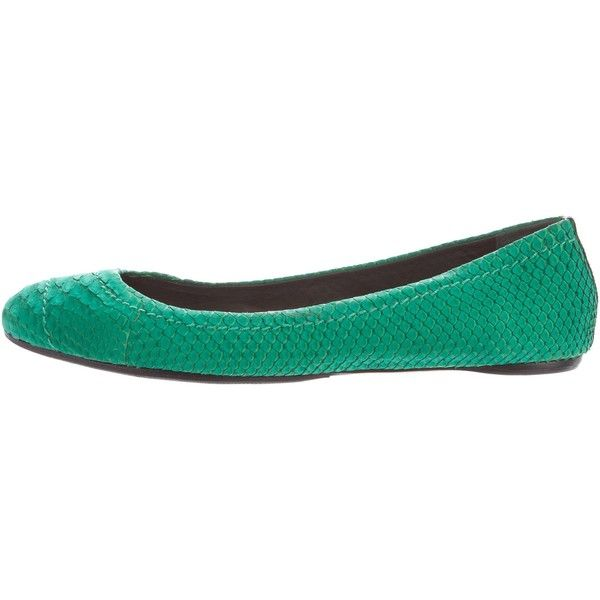 Pre-owned Reed Krakoff Python Ballet Flats (110 AUD) ❤ liked on Polyvore featuring shoes, flats, green, ballet pumps, round toe ballet flats, green flats, ballerina flat shoes and emerald green flats