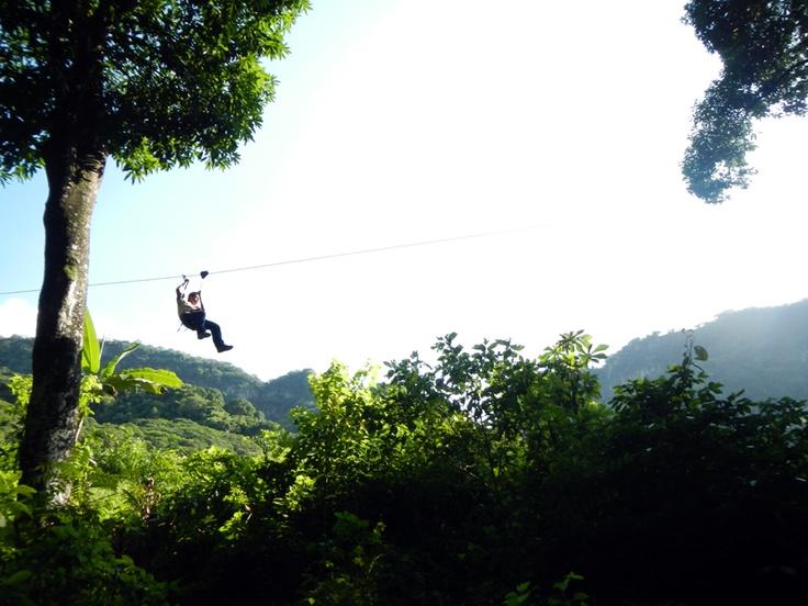 Ziplining in the mountains of Jalcomulco, Veracruz ...