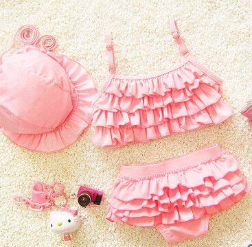 kids swimsuit with solid color meisjes bikini swimwear for girls maillot de bain enfant