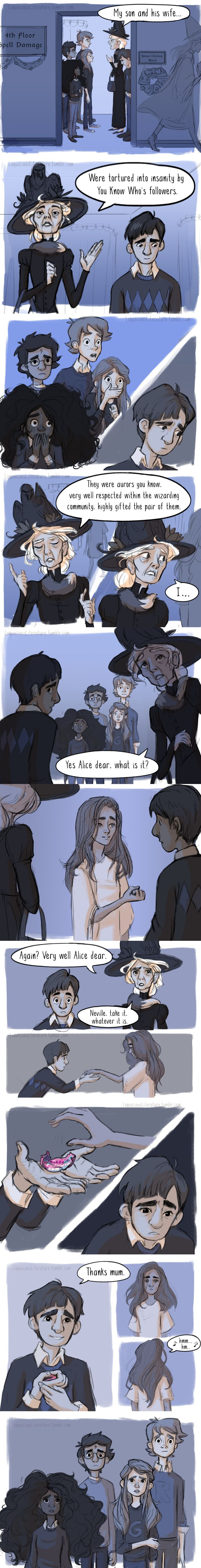 Scene from Order of the Phoenix: This scene should have been in the movies! I also like how Harry and Hermione are portrayed as people of color!