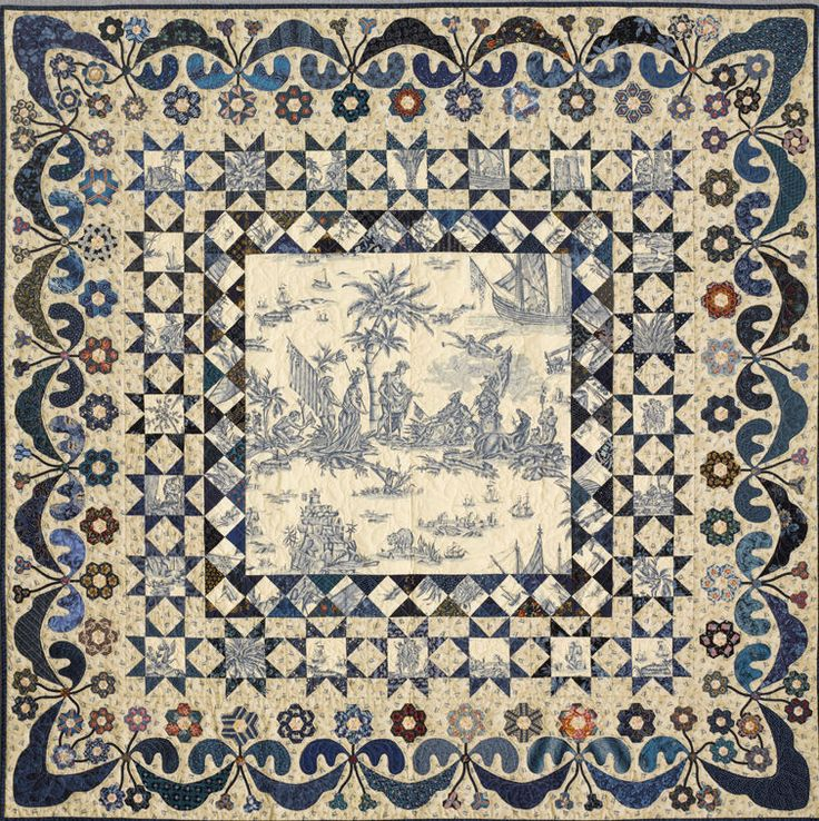 The Blue Toile quilt. Years ago I bought a French blue toile fabric, not sure, but I think it is something about Christopher Columbus's arrival in America. Would someone know? It is made up from various blue reproduction fabrics, the background is the Queen Victoria Jubilee. Hexagons were chosen and fussy cut from blue fabrics although many contain other colours with the blues.No pattern available.