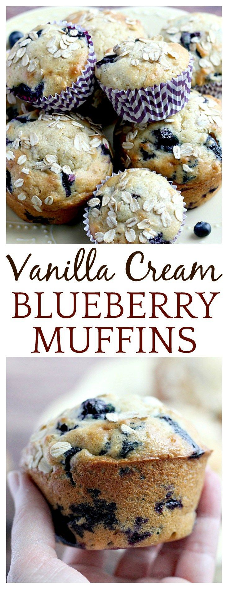 These are not your typical blueberry muffins! The addition of Greek yogurt and vanilla coffee creamer make these Vanilla Cream Blueberry Oat Muffins super moist. The vanilla is the perfect compliment to the sweet blueberries and oats add some whole grain goodness to the mix!
