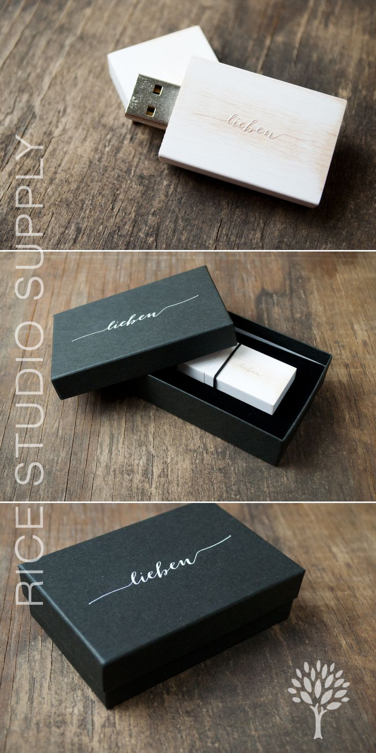 Vintage Wooden Flash Drives and Black Kraft Flash Drive Boxes - flash drive packaging - packaging supplies - packaging for photographers - Rice Studio Supply