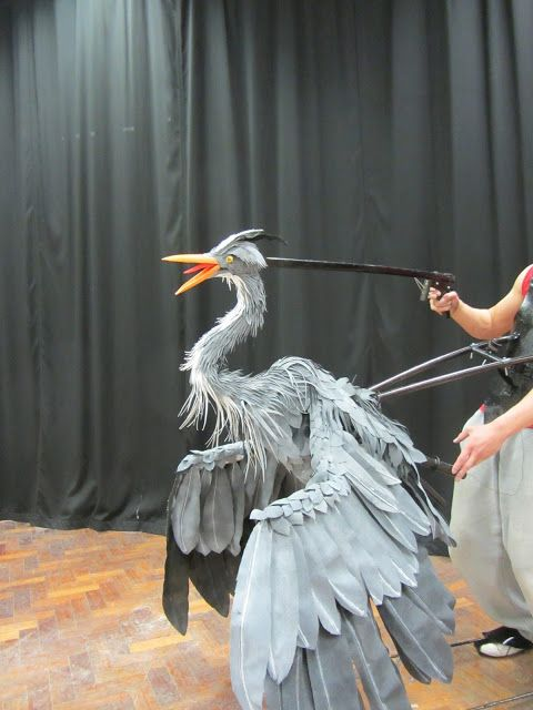 Heron puppet- The head and neck are operated by your right hand , the mouth opens and its mohawk moves up and down.These are operated using guitar strings with rings at the end.
