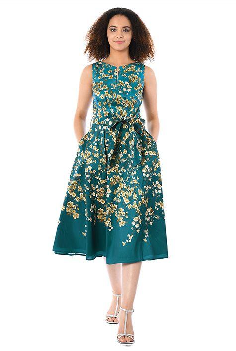 0a444092e04d I <3 this Floral print dupioni midi dress from eShakti | Dresses I ...