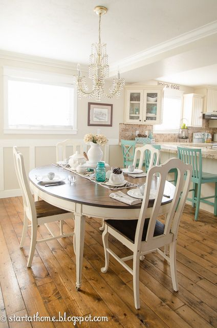 repainting kitchen table in white and brown. Interior Design Ideas. Home Design Ideas
