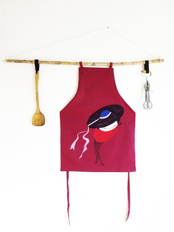 ON SALE Wine red Cotton Apron 'Rosali' with front by KusKatStudio