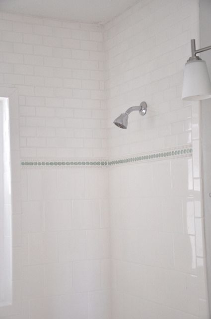 Subway Square And Penny Round Tile With Beaded Tile Trim