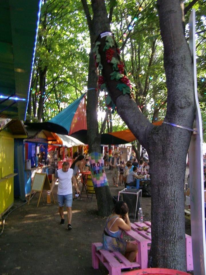 2015. Szőlőfürtök a magasban a Sziget-fesztiválon.