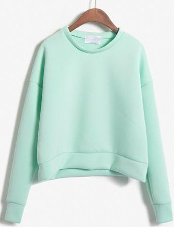 Round Neck Crop Green Sweatshirt