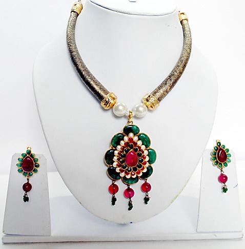 Deep Pink, Green and Off White Antique Finish Imitation #Necklace Set @ $95.86   Shop Here: http://www.utsavfashion.com/store/item.aspx?icode=jad514