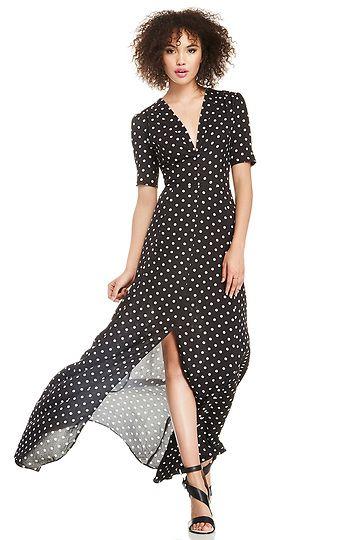 DAILYLOOK Sultry Polka Dot Maxi Dress in Black / White XS - L | DAILYLOOK