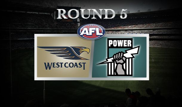 Australian Football League (AFL) Round 5 West Coast Eagles vs  Port Adelaide, Patersons Stadium, Saturday April 19, 7.40 pm (AEST).  The Eagles are looking to atone for horrific 75-point loss to Geelong last Saturday night. Power destroyed the Brisbane Lions and will seek to carry on the momentum of that 113-point win. Port Adelaide does not have a good recent record Patersons stadium.