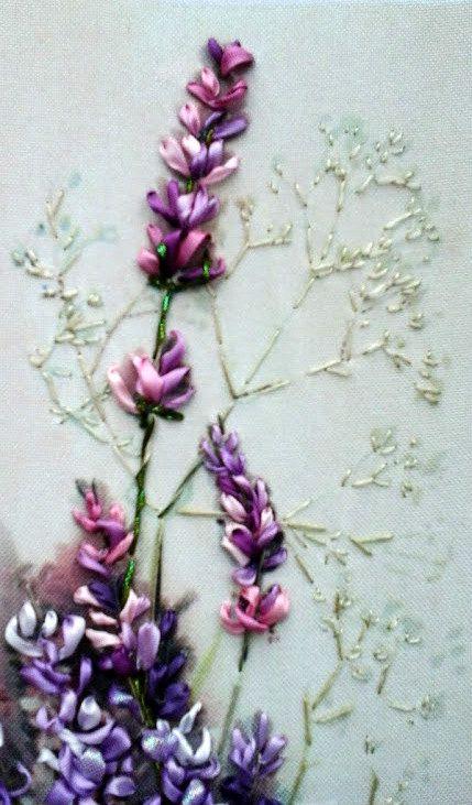 Ricamo per quadro Lavanda Silk ribbon di SilkRibbonembroidery