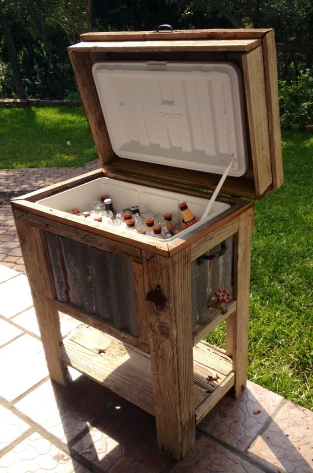 Wooden cooler found at a yard sale (minus the beer) Great DIY idea!