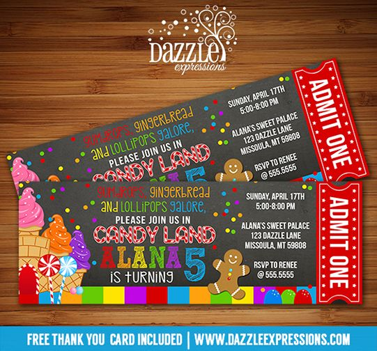 Printable Candy Land Chalkboard Ticket Birthday Invitation | Kids Birthday Party | Sweet Shop | Candy Buffet | Lollipop | Gingerbread | Gumdrop | DIY | Digital File | FREE thank you card included | Matching printable party package available! Banner | Cupcake Toppers | Favor Tags | Water Bottle Labels | www.dazzleexpressions.com