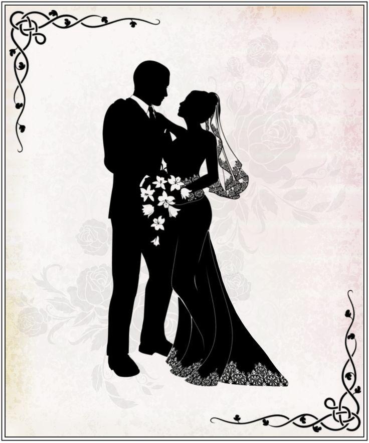 Открытка свадебная жених и невеста