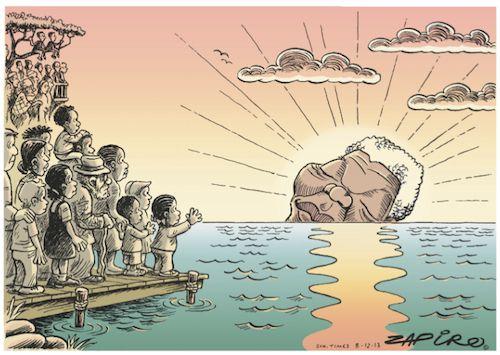 Cartoons Zapiro's setting sun farewell to Madiba
