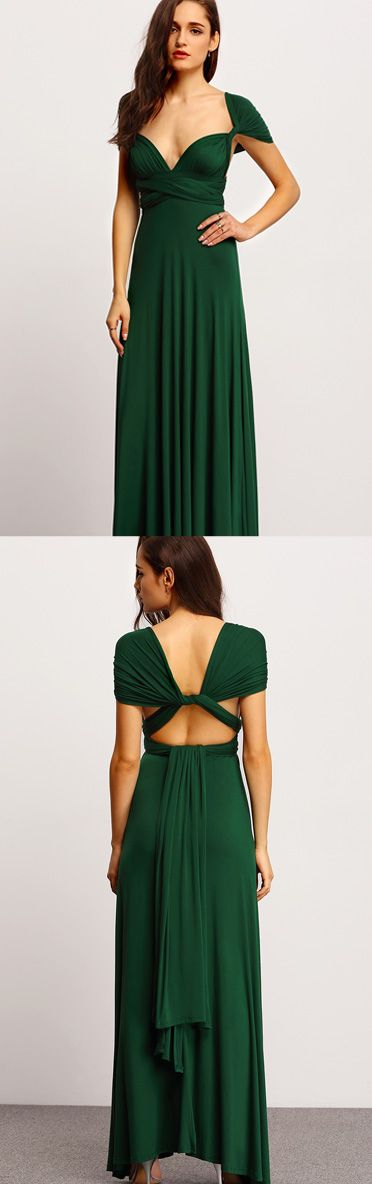 Edgy? Feminine? Casual? Sexy? Can't decide on a look? You don't have to! This convertible dress has got you covered for any occasion. This Green Backless Maxi Dress features a convertible bodice and a maxi style silhouette. Pair with metallic accessories for a goddess-like ensemble.