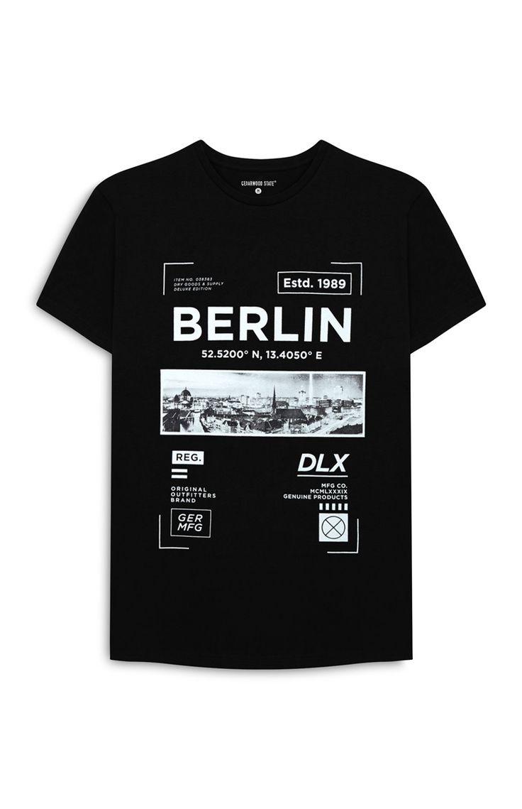 T-shirt Berlin noir imprimé