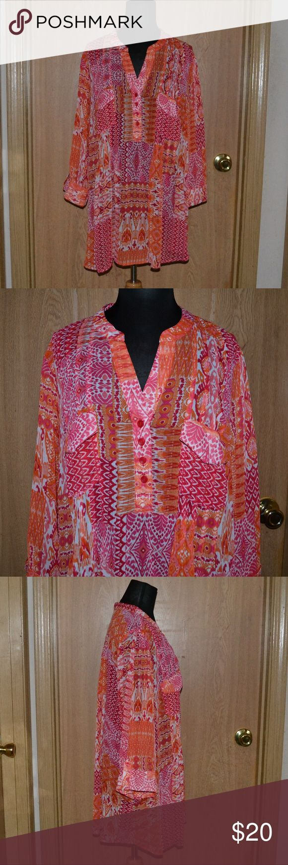 NWT! Zach & Rachel Woman Chiffon blouse Smoke free home! I ship Monday- Friday! No holds or trades!   A beautiful colorful, bright orange, pink & white 4 button down semi sheer summer blouse size 3X. comes with an extra button. By the brand Zach & Rachel Woman  new with tags! 100% polyester. Perfect for summer & vacations. Zac & Rachel Tops Blouses