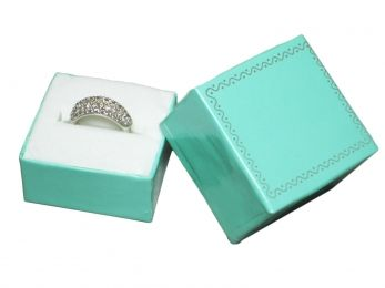 Teal Blue Hat Box With Accent Trim    Price: $25.95/box of 100