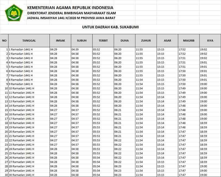 Download Jadwal Imsakiyah 2020 - IlmuSosial.id