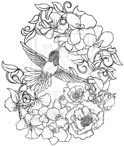 Hummingbird with Flowers Tattoo by Metacharis