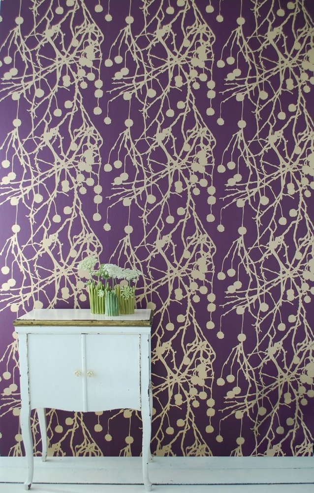19 best images about purple gold bedroom on pinterest for Tree wallpaper bedroom