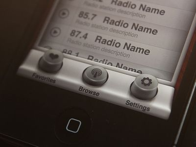 Radio App - Browser  #ui #iphone #app #radio #old #buttons #list